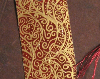 Hand Painted Bookmark - Red and Gold