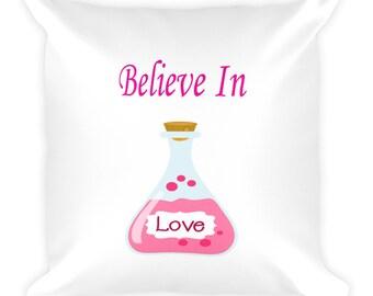 Believe In Love Potion Bottle Pillow