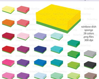 Rainbow Dish Sponge with Scrubbie Digital Clipart - Instant download PNG files