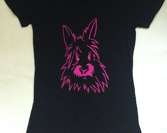Women's Hot Pink Bunny Sketch Skinny T-shirt - Gift for animal lover, eco print, Christmas, gift for her, holiday, tee, rabbit