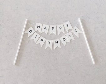 Happy Birthday Flag Cake Topper