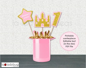 Princess party  centerpiece. Printable and editable. Gold and pink decoration. DIY Caketopper for birthday girl party. Instant download. PDF