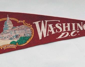 1930s-'40s era Souvenir of The Capitol Washington DC Felt Pennant — Free US Shipping!