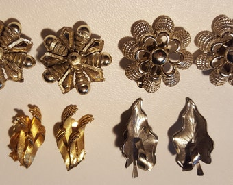 Vintage Earrings - 4 Pairs Clip On Metal