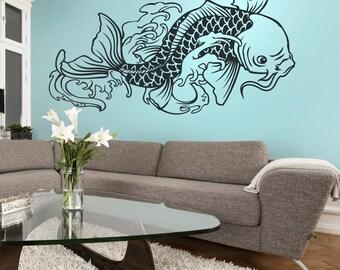 koi fish wall decal, tattoo inspired koi, vinyl sticker art, japanese tattoo art, FREE SHIPPING