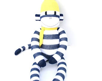 Cullen the Sock Monkey - navy and white with yellow - *READY TO SHIP*
