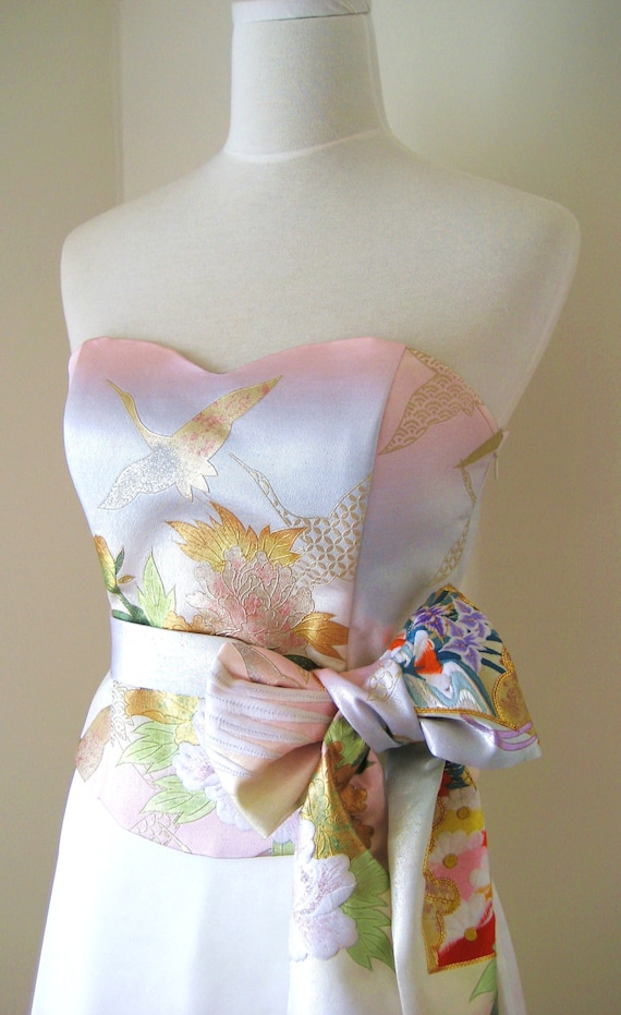 Brautkleid mit Vintage KIMONO Top OBI beugen Schärpe Gürtel