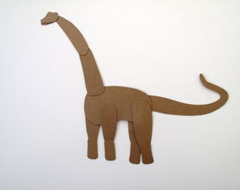 Brachiosaurus Blue & Silver  / Paper Doll Articulated / Hinged Beasts Series