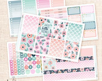 BLOOM - Sticker Kit / 5 sheets, matte or glossy planner stickers for the Erin Condre or Happy Planner