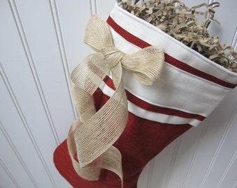 Red burlap christmas stocking