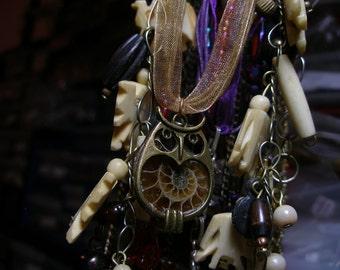 Ammonite owl pendant -- matches earrings  FunkyAlternativeJewelry, OlympiaEtsy, HandmadeJewelryGuild, Halloween24/7, WitchesofEtsy, WWWGd