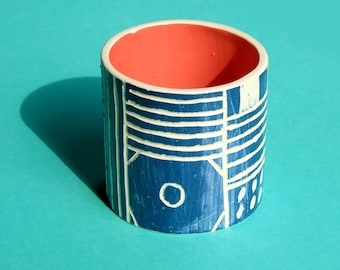 Handmade Illustrated Ceramic Pot
