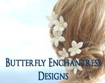 Wedding Hair Pins, Bridal Hair Accessories, Hair Flowers, Bridesmaid Hairpins - 6 Pearl Pale Ivory Stephanotis Floral Hair Pins