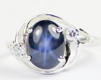 Blue Star Sapphire, 925 Sterling Silver Ladies Ring, SR021