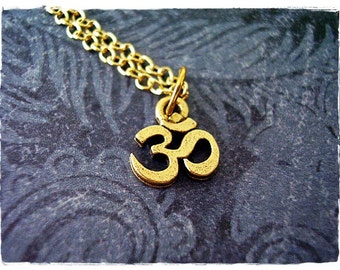Tiny Gold Om Necklace - Antique Gold Pewter Om Charm on a Delicate Gold Plated Cable Chain or Charm Only