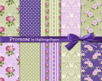 """Shabby chic digital paper : """"Provanse"""" floral digital paper in purple and green with damask, polka dot pattern, decoupage paper"""
