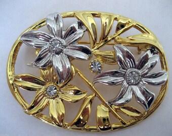 Vintage Art Nouveau Style Two-tone Flower Brooch