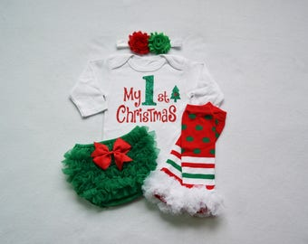 my 1st christmas baby girl christmas outfit - red and green baby girl christmas- my first christmas baby girl outfit - my 1st christmas baby