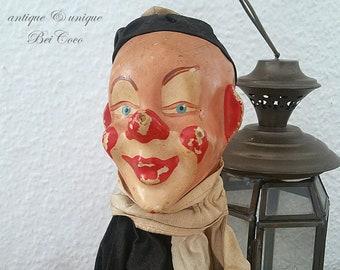 Vintage 1900s Mâché Harlequin Clown Theater Doll Puppet