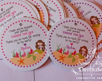 Mermaid Thank you Favor Tags in Pink and Purple / Any Color Mermaid Tags / Mermaid Themed Party Favor Tags