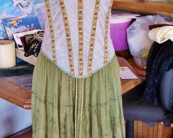 Corset Dress, Fringe dress, Strapless dress, Summer dress, Boho dress, Up-cycle dress, size M