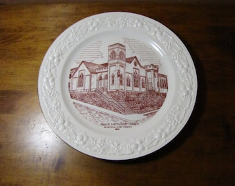 Vintage Commemorative Plate - Grace Methodist Church Bluefield, West Virginia