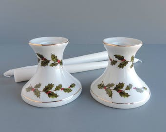 Lefton Christmas Candleholder Pair | Holly and Berry #05251, 1985 | Set of Two Candle Holders | Vintage Holiday Home Decor