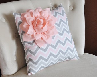 Light Pink Corner Dahlia on Gray and Light Pink Zigzag Pillow -Chevron Pillow-
