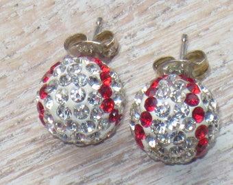 Swarovski Crystal Encrusted Baseball Sterling Silver Earrings  Baseball Earrings Crystal Earrings