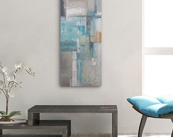 Abstract Painting original, City Painting, Original Artwork, Modern Abstract Art, Acrylic Canvas Painting, Turquoise Painting Grey Painting