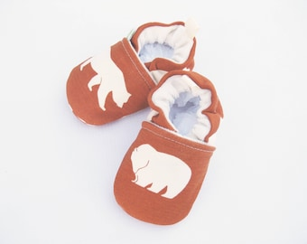Organic Knits Vegan Bears in Rust / All Fabric Soft Sole Baby Shoes / Made to Order / Babies