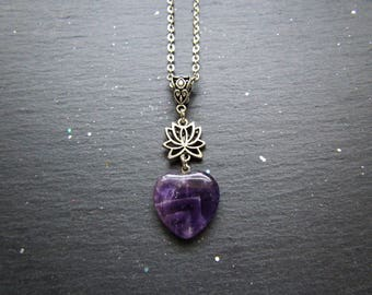 Pure Serenity Necklace with a Lotus Flower and Amethyst heart, Heart Necklace, Zen Necklace, Amethyst Necklace, Lotus Jewelry, Heart