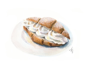 Croissant Art, Watercolor Croissant, Croissant with wipped cream, Croissant Illustration, Bakery Art, Croissant wall decor,  Food Art