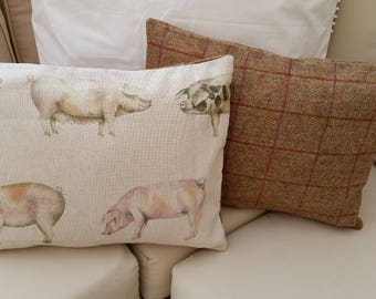 Handmade Voyage Oink Pigs Cushion Cover Backed in Voyage Arran 100% Wool