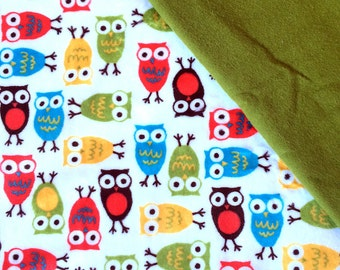 Baby Car Seat Canopy COVER or NURSING Cover: Bright Owls on White Minky with Olive Green Flannel , Personalization Available