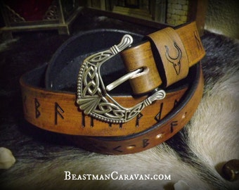 Norse Runic Viking Belt with Knotwork Buckle - Elder Futhark - Asatru Heathen Pagan Magickal