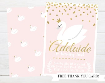 Swan Lake Gold Glitter & Pink Invitation Package