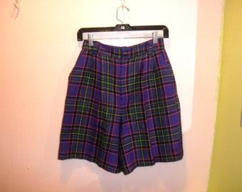 """90's purple pink plaid knit high waist shorts 1990's rainbow tartan clueless high waisted wool winter shorts Clueless / Punk / 26"""" w S XS"""