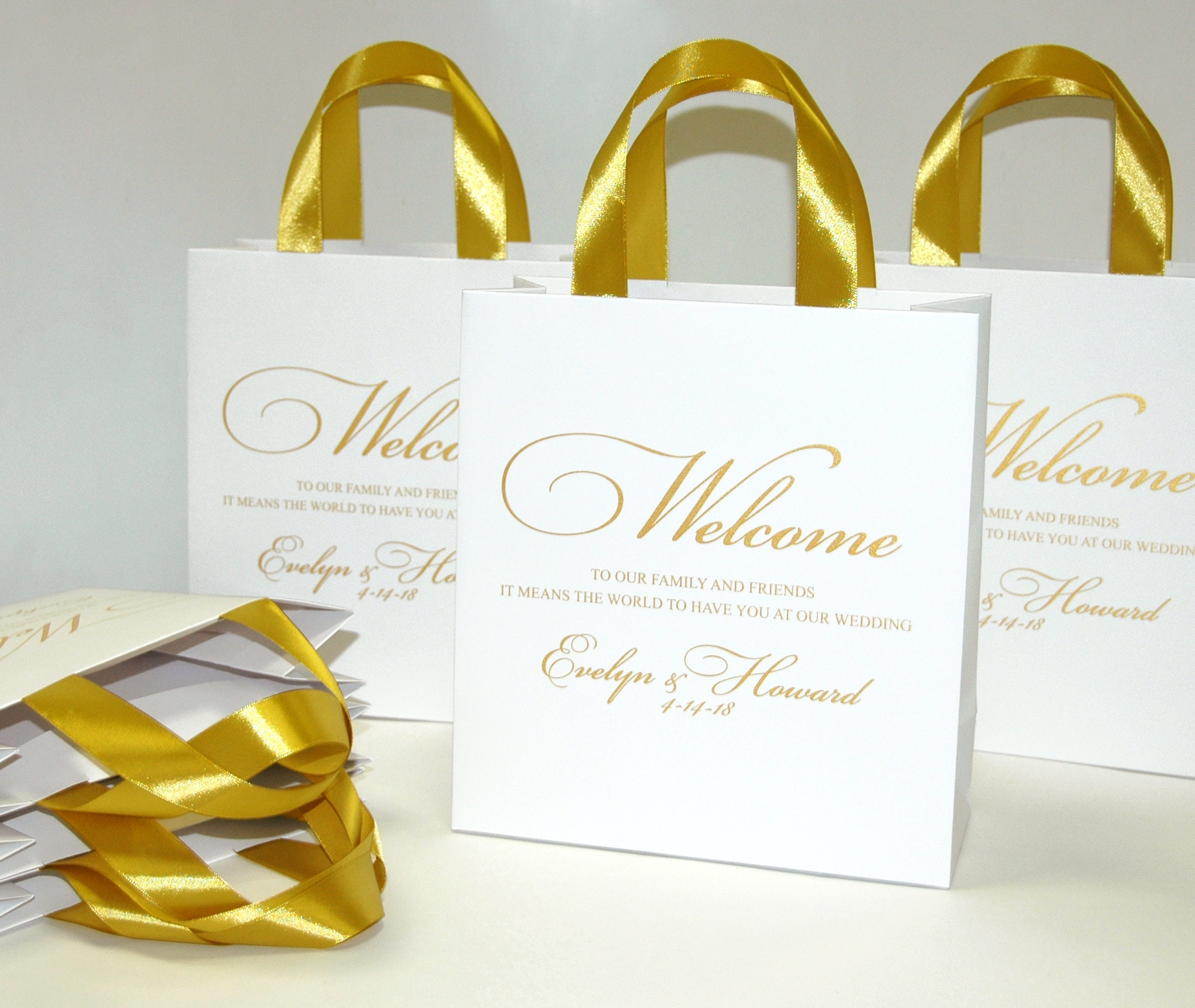 35 Gold Wedding Welcome Bags with satin ribbon handles and