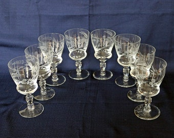 Set of (8) Eight Wine Glasses ~ Cut/Etched ~ Stemware ~ Floral Motif ~ Cut Glass ~ Etched Glass ~ Barware