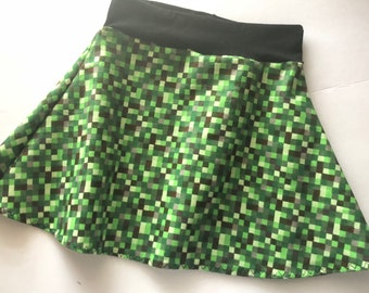 Minecraft Skirt Girls 8-bit Green pixel 6 9 12 18 24 months 2T 3T 4T 5T 5 6 7 8 9 10 11 12 Baby Toddler Kids waist