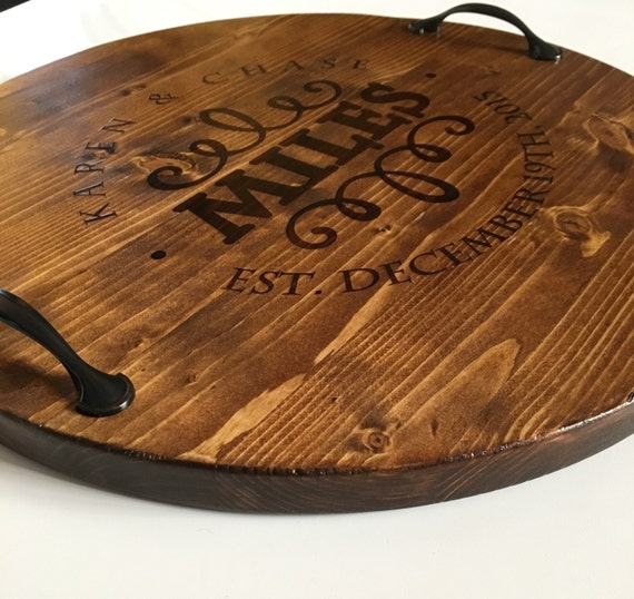 Typical Wedding Gift Amount: Personalized Serving Tray Wine Barrel Tray Personalized Wood