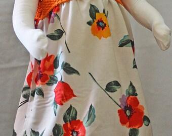 Dress summer top knitted orange cotton flowered bottom, size 2 years