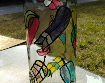 Faux stained glass decorative feather glass bottle, upcycled glass bottle, hand painted bottle, table top decor, table top lighting