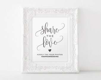 Share The Love Sign, Wedding Hashtag Sign, Hashtag Printable Template, Wedding Sign, Wedding Printable, PDF Instant Download #BPB203_30