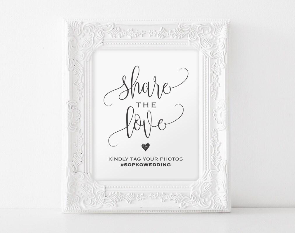 Share The Love Sign Wedding Hashtag Printable