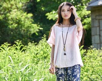 Women cotton and linen T-shirt – Original Simple Loose Half-sleeved Round Neck T-shirt