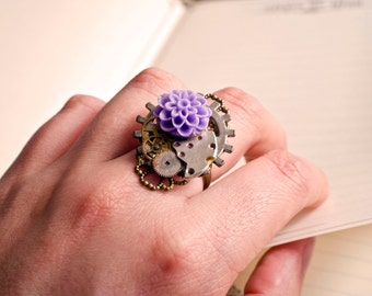 Steampunk purple flower ring