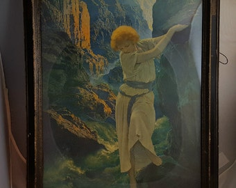 Maxfield Parrish Canyon 1924 Lithograph in Period Frame Reinthal & Newman