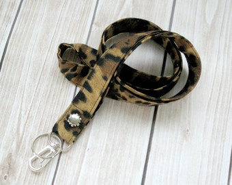 Lanyard, Key and ID Lanyard, Long Strap, Badge Holder, Lobster clasp and Keyring, Animal Print